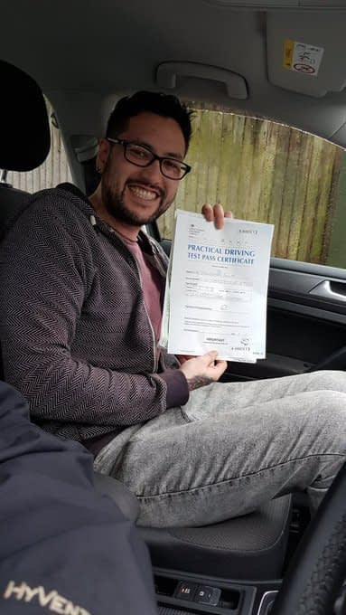 chris passed his driving test first time